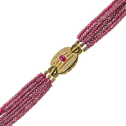 6-Strand Ruby Bead Bracelet