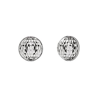 Diamond-Cut Button Stud Earrings
