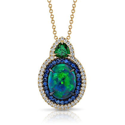 Opal, Sapphire, Diamond & Tsavorite Garnet Pendant