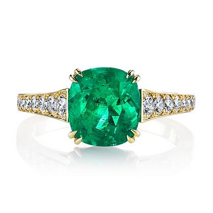 Cushion-cut Emerald & Diamond Ring