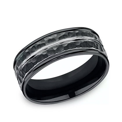 Hammered Cobalt Chrome Wedding Band