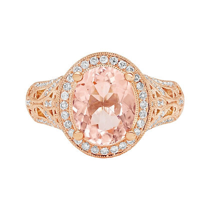 Morganite & Diamond Scrollwork Ring