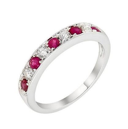 Pink Sapphire & Diamond Halfway Band