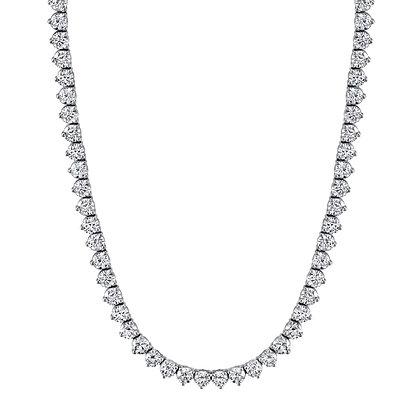 3-Prong Round Diamond Tennis Necklace