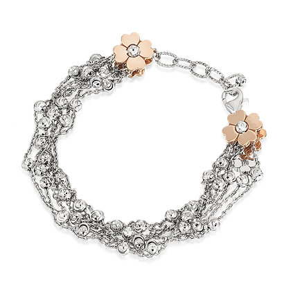 6-Strand Diamond-Cut Bead Bracelet with Floral Ends