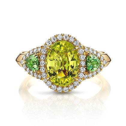 Chrysoberyl & Tsavorite Garnet 3-Stone Ring