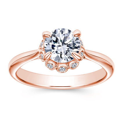 Milgrain Halo Mount Engagement Ring