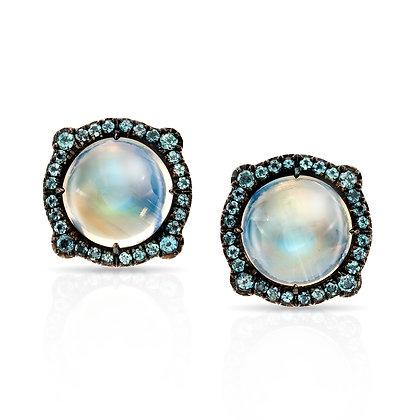 Rainbow Moonstone & Alexandrite Stud Earrings
