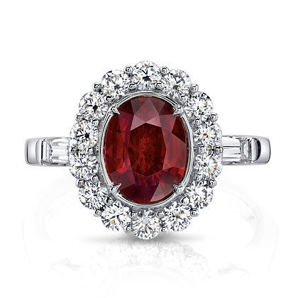 Oval Ruby Ring with Diamond Halo