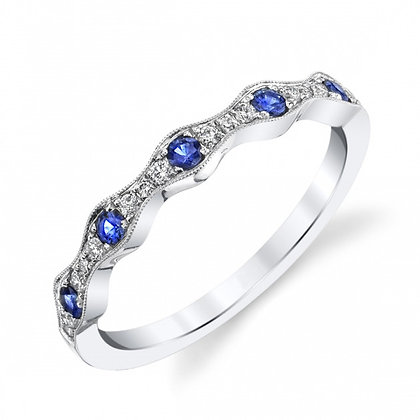 Sapphire & Diamond Waved Wedding Band