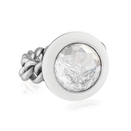 White Enamel Diamond Shaker Ring
