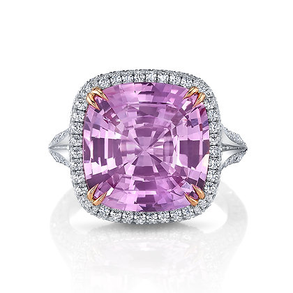 Pink Sapphire & Diamond Split Shank Ring