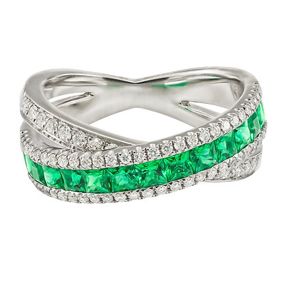 Emerald & Diamond Criss-Cross Band