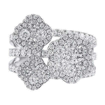 Diamond Pavé Triple Flower Ring