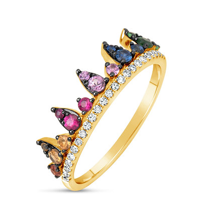 "Rainbow Sapphire & Diamond ""Crown"" Band"