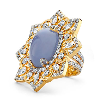 Chalcedony Cabochon & Diamond Star Ring
