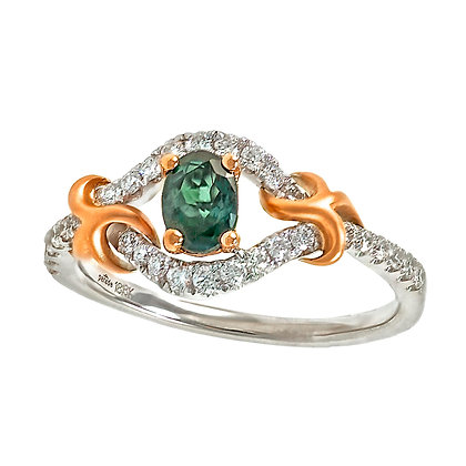 Alexandrite & Diamond Swirl Ring