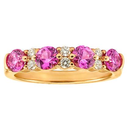 Pink Sapphire & Diamond Band