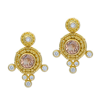 Peach Topaz Convertible Earrings with Granulation