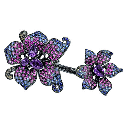 Amethyst & Sapphire Knuckle Flower Ring