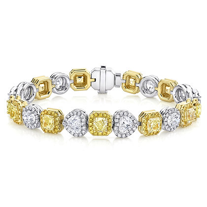 Multi-shape Fancy Color Diamond Bracelet