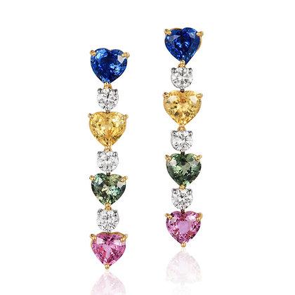 Heart Sapphire & Diamond Earrings