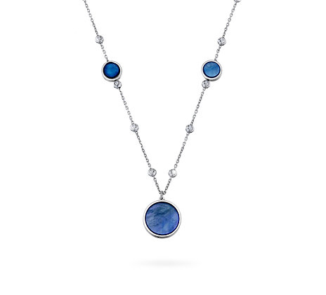 Blue Mother-of-Pearl Station Necklace