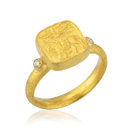 Horse & Eagle Square Ring with Diamond Accents