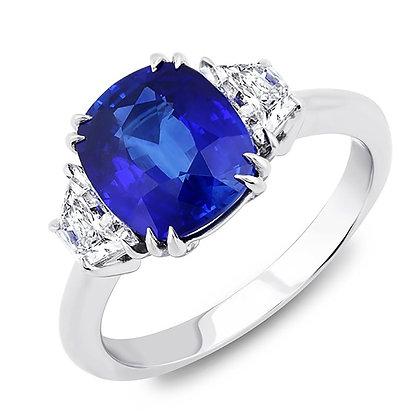 Sapphire Cushion & Diamond Trapezoid Side-Stones Ring