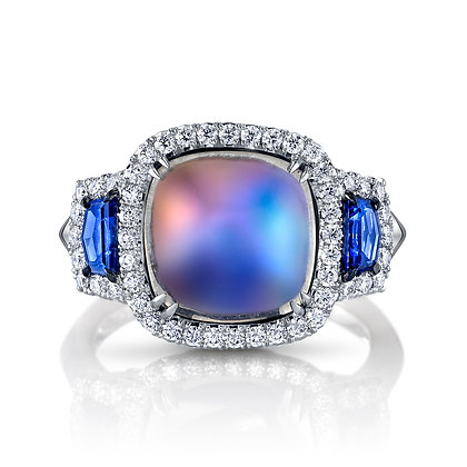 Moonstone, Sapphire & Diamond Ring
