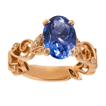 Tanzanite Oval Ring with Swirling Leaf Band