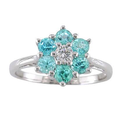 Paraiba Tourmaline Daisy Ring