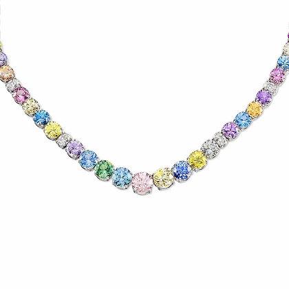 Multicolor Sapphire & Diamond Eternity Necklace