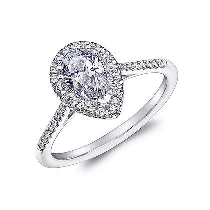 Pearshape Halo Engagement Ring