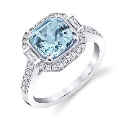 Aquamarine Octagon Ring