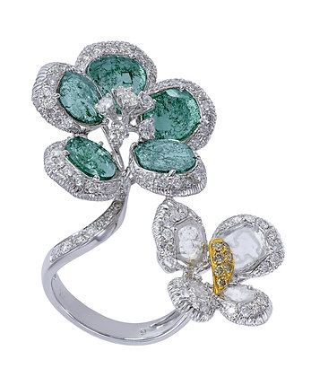 Diamond Slice Flower & Butterfly Ring