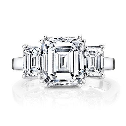 Emerald-cut Diamond Sides Semi-Mount Engagement Ring