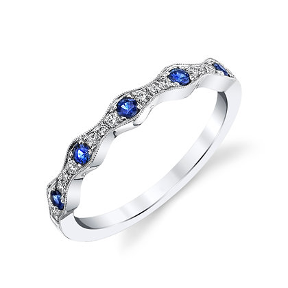 Sapphire & Diamond Wave Wedding Band