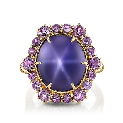 Purple Star Sapphire, Purple Spinel, & Diamond Ring