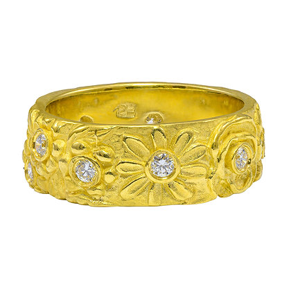 Wide Flower Band with Diamonds