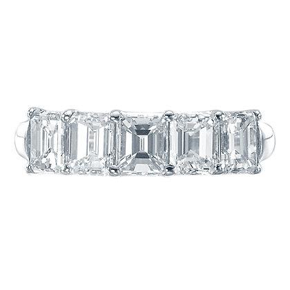 Shared Prong Emerald-Cut Diamond Band