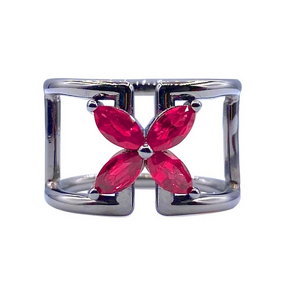 Ruby Butterfly Open Ring with Blackening