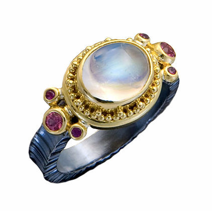 Moonstone & Spinel Ring