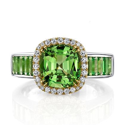 Green Garnet Cushion Ring