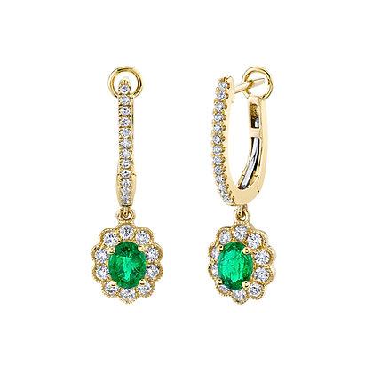 Diamond Huggies with Oval Emerald Dangle