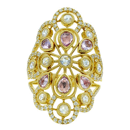 "Pink Sapphire & Diamond Open ""Vintage-Style"" Ring"