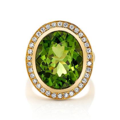 Oval Peridot Ring with Diamond Halo