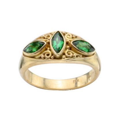 Marquise-shape Tsavorite Garnet Ring