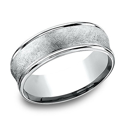 Swirl Finish Concave Men's Wedding Band