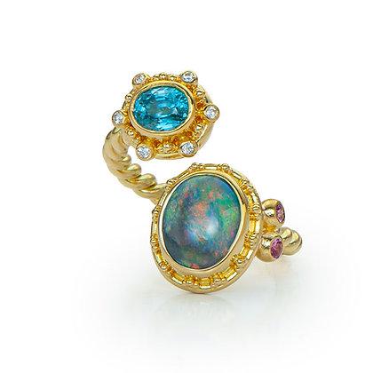 Opal & Blue Zircon Open Ring